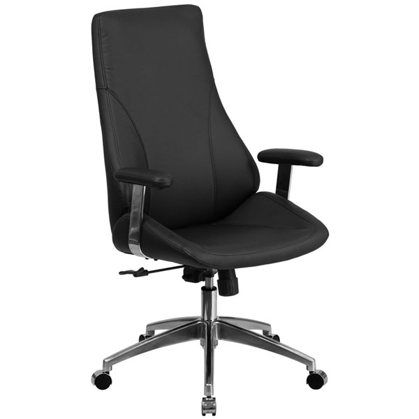 Flash Furniture High Back Black Leather Metal Plastic Swivel Office Chair FLF-BT-90068H-GG
