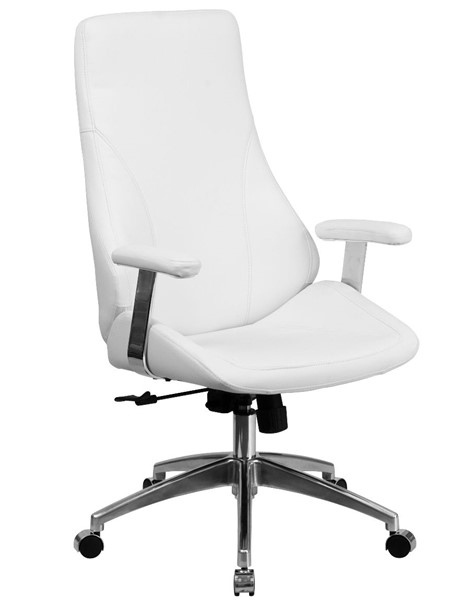 Flash Furniture High Back White Leather Metal Plastic Swivel Office Chair FLF-BT-90068H-WH-GG