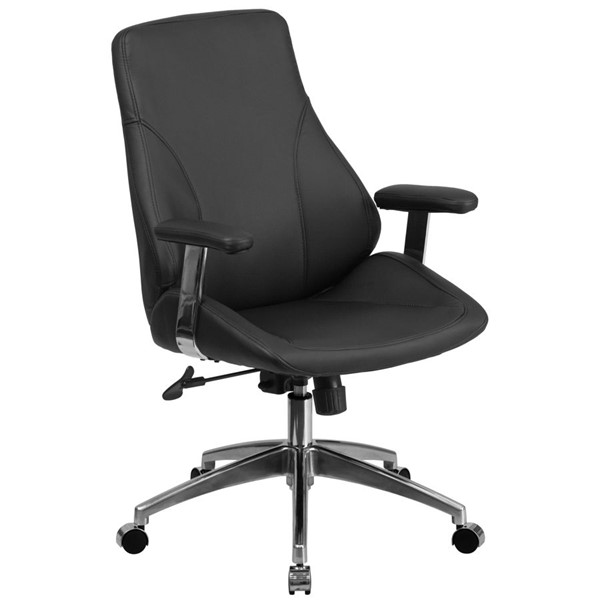 Flash Furniture Mid Back Black Leather Executive Swivel Office Chair FLF-BT-90068M-GG