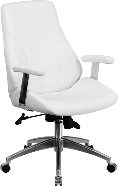 Flash Furniture Mid Back White Leather Executive Swivel Office Chair FLF-BT-90068M-WH-GG