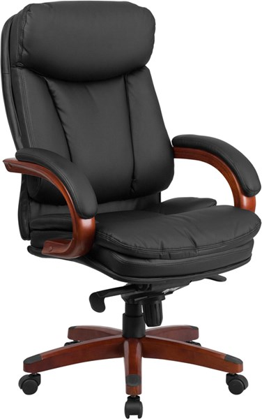 Flash Furniture Black Leather Executive Swivel Office Chair with Synchro-Tilt Mechanism FLF-BT-90171H-S-GG