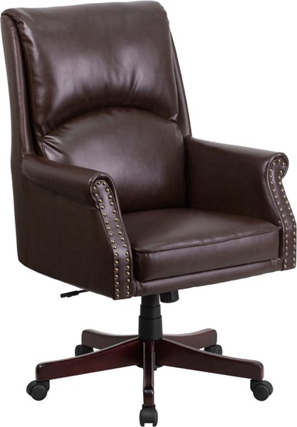 Flash Furniture High Pillow Back Brown Leather Executive Swivel Office Chair FLF-BT-9025H-2-BN-GG