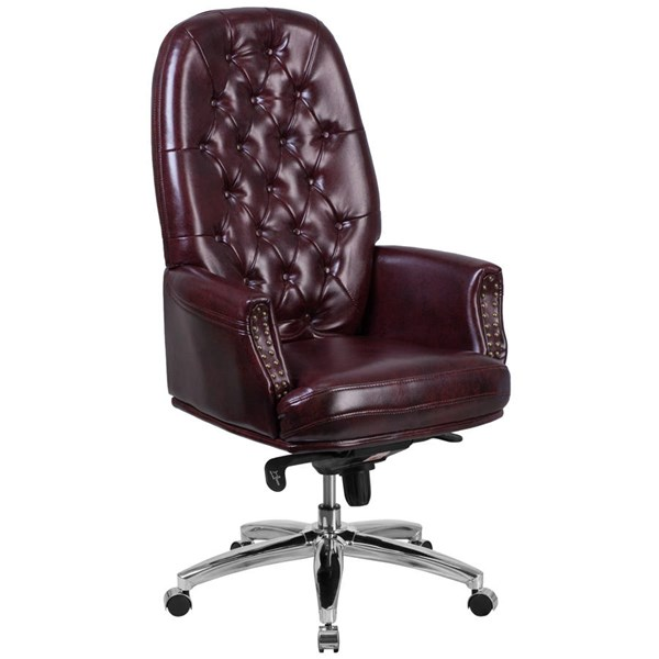 Flash Furniture Burgundy Leather Multifunction Executive Swivel Chair with Arms FLF-BT-90269H-BY-GG
