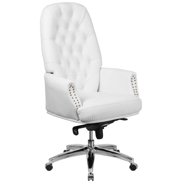 Flash Furniture White Leather Multifunction Executive Swivel Chair with Arms FLF-BT-90269H-WH-GG