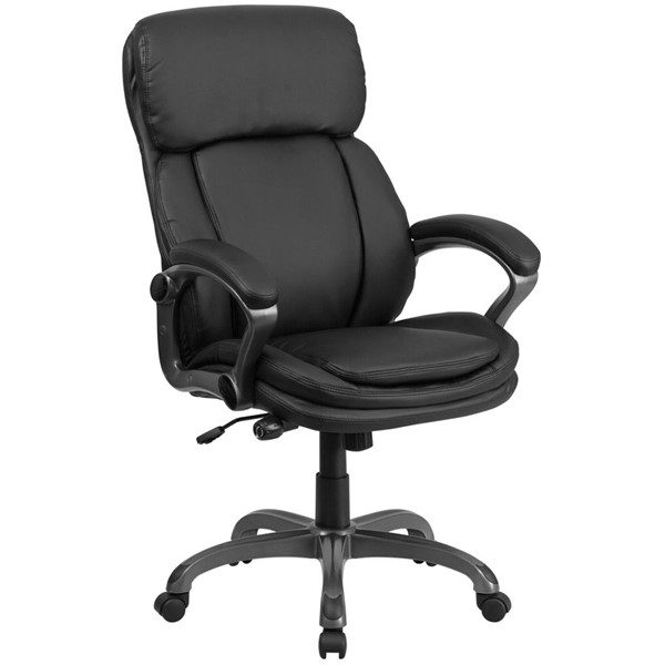 Flash Furniture Black Leather Executive Swivel Office Chair with Lumbar Support Knob FLF-BT-90272H-GG
