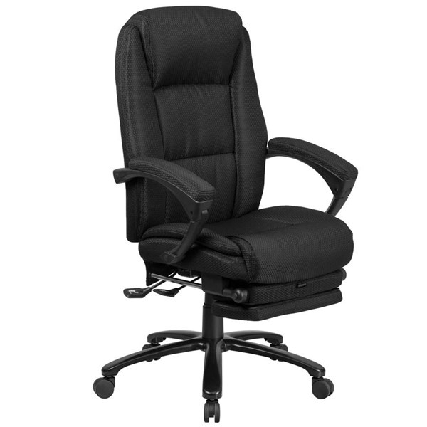 Flash Furniture Black Fabric Executive Reclining Swivel Office Chair with Padded Armrests FLF-BT-90288H-BK-GG
