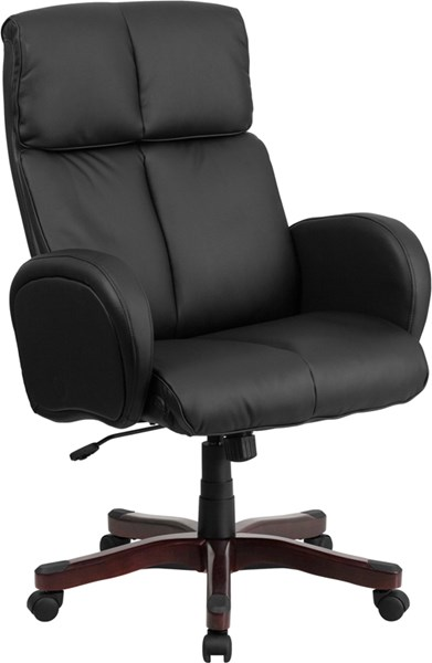 Black Leather Executive Swivel Office Chair w/Fully Upholstered Arms FLF-BT-9028H-1-GG