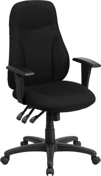 Flash Furniture Black Fabric Metal Plastic Ergonomic Swivel Task Chair with Arms FLF-BT-90297H-A-GG