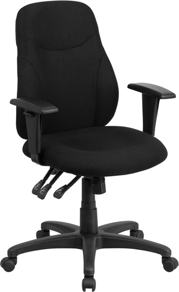 Flash Furniture Mid Back Black Ergonomic Swivel Task Chair with Arms FLF-BT-90297M-A-GG