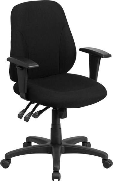 Flash Furniture Mid Back Black Fabric Ergonomic Swivel Task Chair with Arms FLF-BT-90297S-A-GG