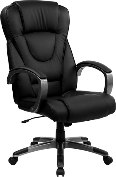 Black Leather Metal Plastic High Back Adjustable Height Office Chair FLF-BT-9069-BK-GG