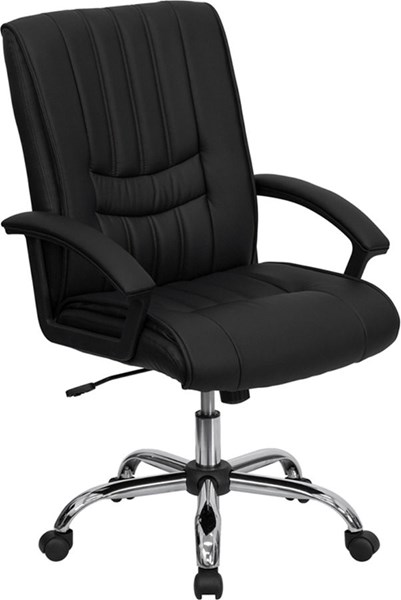 Contemporary Black Chrome Leather Metal Plastic Managers Chair FLF-BT-9076-BK-GG