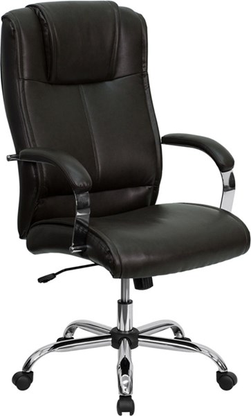High Back Brown Leather Executive Office Chair FLF-BT-9080-BRN-GG