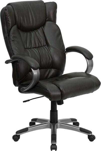 High Back Espresso Brown Leather Executive Office Chair W/Arms FLF-BT-9088-BRN-GG