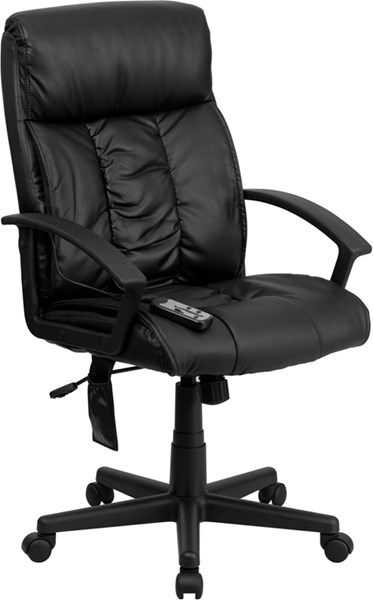 Contemporary Black Leather Plastic High Back Massaging Office Chair FLF-BT-9578P-GG