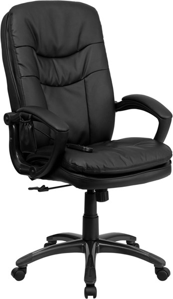 Mid-Back Massaging Black Leather Executive Office Chair FLF-BT-9585P-GG
