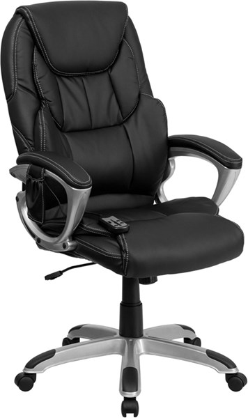 Flash Furniture High Back Massaging Black Leather Executive Office Chair FLF-BT-9806HP-2-GG
