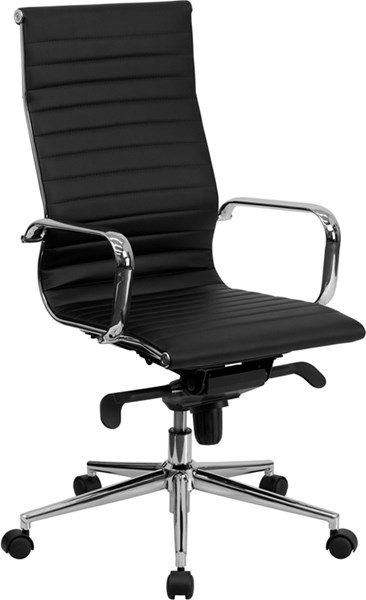 Flash Furniture High Back Black Ribbed Upholstered Leather Executive Swivel Chair FLF-BT-9826H-BK-GG