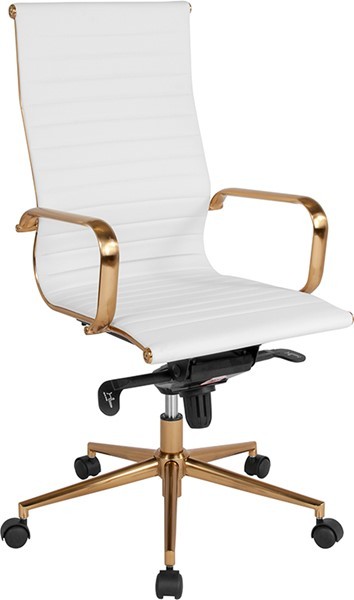 Flash Furniture White Gold High Back Office Chair FLF-BT-9826H-WH-GD-GG