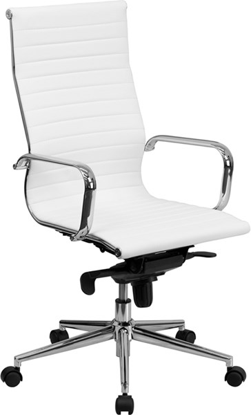 Flash Furniture High Back White Ribbed Upholstered Leather Executive Swivel Chair FLF-BT-9826H-WH-GG