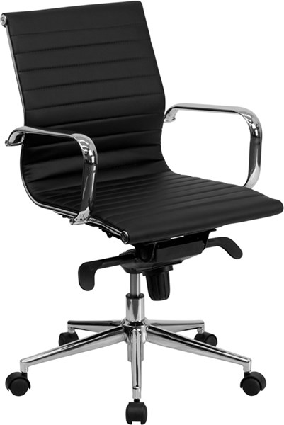 Mid-Back Ribbed Upholstered Leather Swivel Conference Chair FLF-BT-9826M-GG-VAR