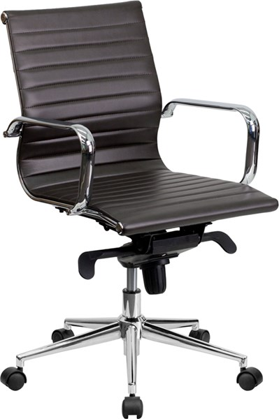 Flash Furniture Mid Back Brown Ribbed Upholstered Leather Swivel Conference Chair FLF-BT-9826M-BRN-GG