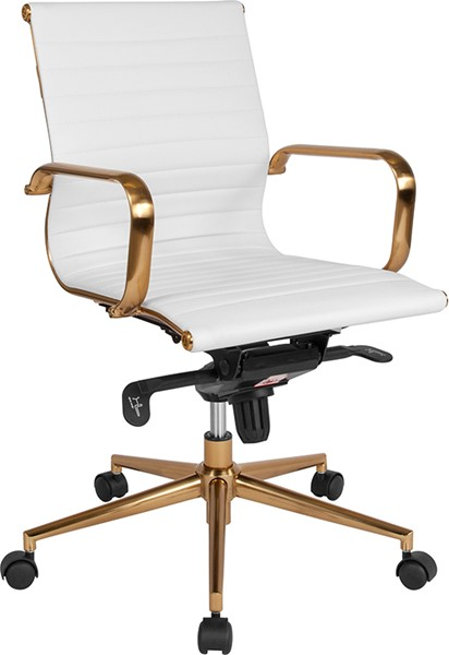Flash Furniture White Gold Mid Back Office Chair FLF-BT-9826M-WH-GD-GG