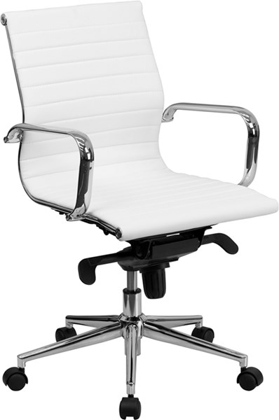 Flash Furniture Mid Back White Ribbed Upholstered Leather Swivel Conference Chair FLF-BT-9826M-WH-GG
