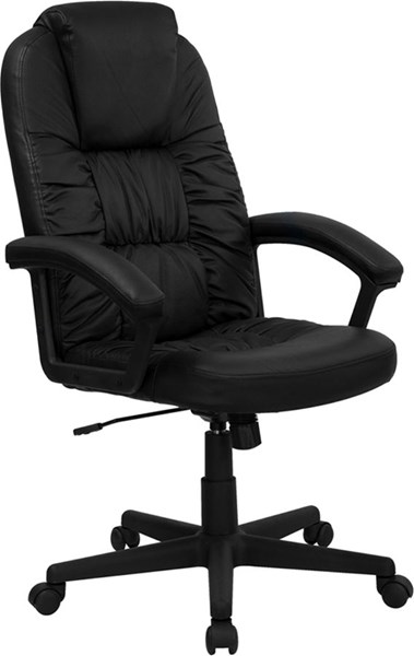 Flash Furniture Black Leather High Back Swivel Office Chair with Arms FLF-BT-983-BK-GG