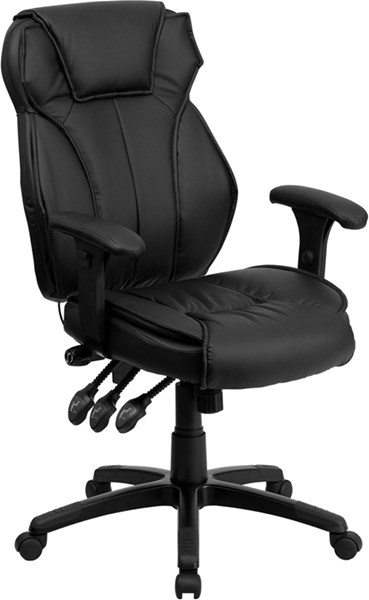High Back Black Leather Executive Office Chair w/Triple Paddle Control FLF-BT-9835H-GG