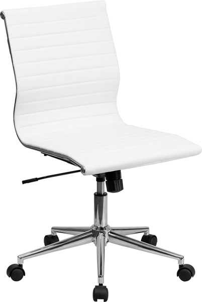 Flash Furniture Mid Back Armless White Rib Upholstered Leather Swivel Conference Chair FLF-BT-9836M-2-WH-GG