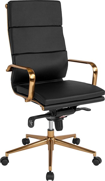 Flash Furniture Black Leather Gold High Back Office Chair FLF-BT-9895H-6-BK-GD-GG