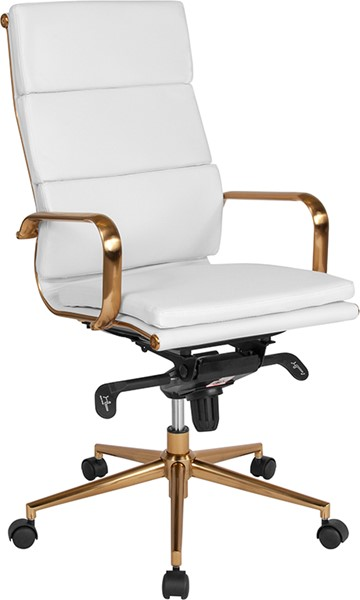 Flash Furniture White Leather Gold High Back Office Chair FLF-BT-9895H-6-WH-GD-GG