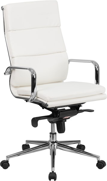 Flash Furniture High Back White Leather Executive Swivel Office Chair with Synchro-Tilt FLF-BT-9895H-6-WH-GG
