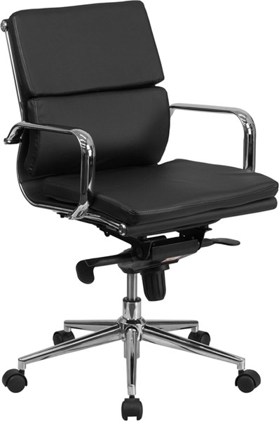 Flash Furniture Mid Back Black Leather Executive Swivel Office Chair with Synchro-Tilt FLF-BT-9895M-BK-GG