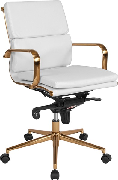 Flash Furniture White Leather Gold Mid Back Office Chair FLF-BT-9895M-WH-GD-GG
