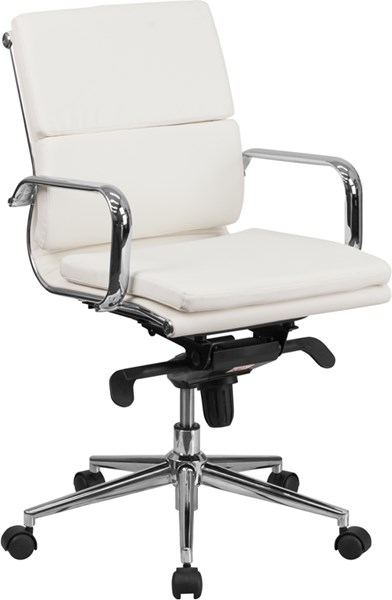 Flash Furniture Mid Back White Leather Executive Swivel Office Chair with Synchro-Tilt FLF-BT-9895M-WH-GG