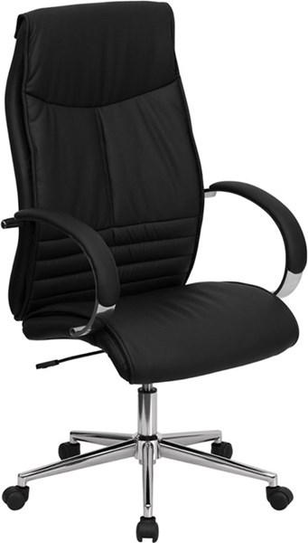 Contemporary Chrome Leather Metal High Back Executive Office Chair FLF-BT-9996-BK-GG