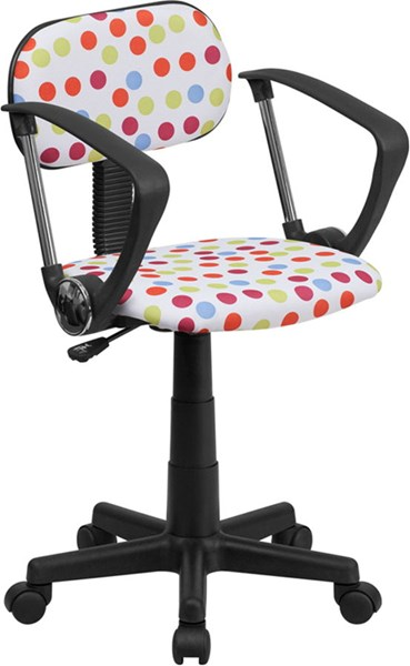 Red White Blue Dot Printed Computer Chair w/Arms FLF-BT-D-MUL-A-GG