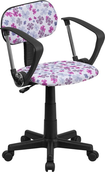 Lavender Pink White Flower Printed Computer Chair w/Arms FLF-BT-FLWR-A-GG