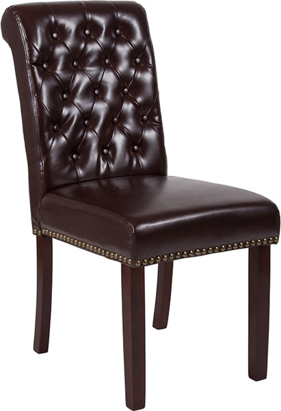 Flash Furniture Hercules Brown Leather Parsons Chair FLF-BT-P-BRN-LEA-GG