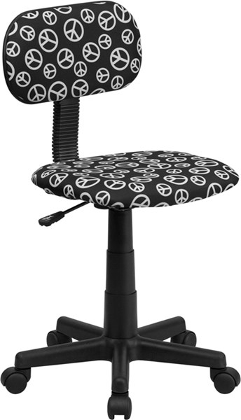 Black White Fabric Metal Plastic Peace Sign Printed Computer Chair FLF-BT-PEACE-GG