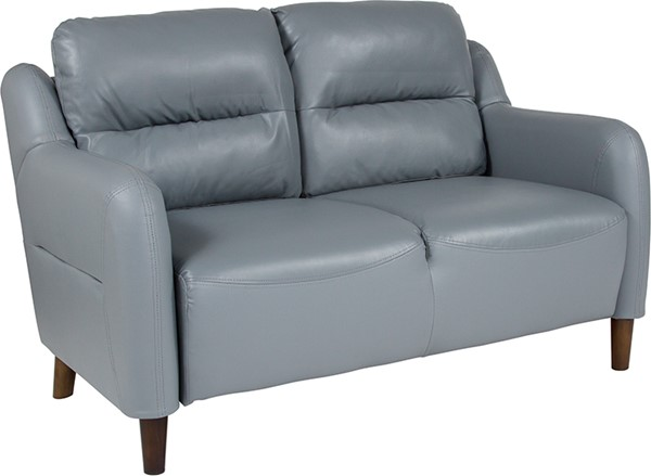 Flash Furniture Newton Hill Gray Leather Loveseat FLF-BT-S8372A-LV-GRY-GG
