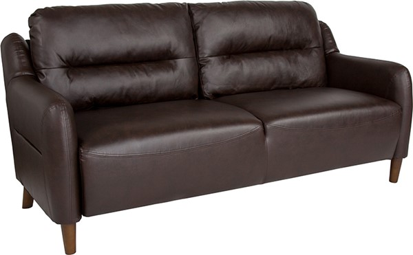 Flash Furniture Newton Hill Brown Leather Sofa FLF-BT-S8372A-SF-BRN-GG