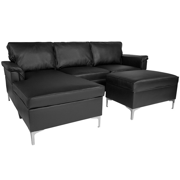 Flash Furniture Boylston Black L Shape Sectional FLF-BT-S8375-SFCHSEOT-BK-GG