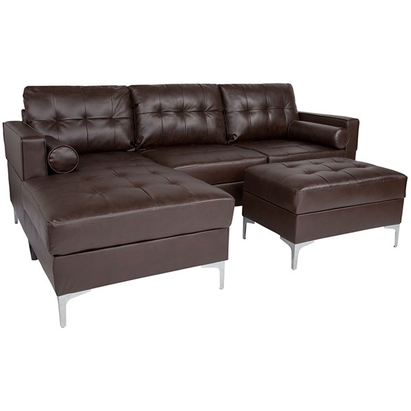 Flash Furniture Riverside Brown L Shape Sectional Chaise FLF-BT-S8376-SFCHSEOT-BRN-GG