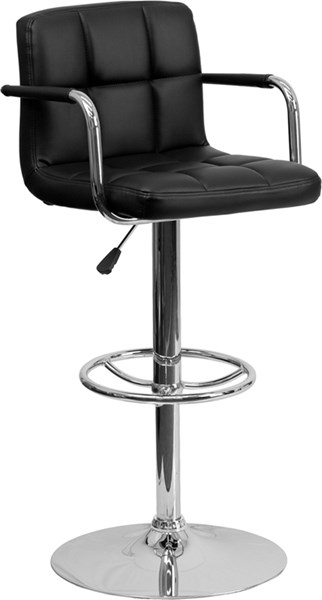 Contemporary Black Quilted Vinyl Chrome Base Adjust Height Barstool FLF-CH-102029-BK-GG