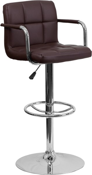 Contemporary Quilted Vinyl Chrome Base Adjust Height Barstool FLF-CH-102029-GG-BS-VAR