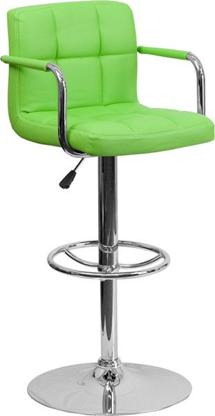 Contemporary Green Quilted Vinyl Chrome Base Adjust Height Barstool FLF-CH-102029-GRN-GG
