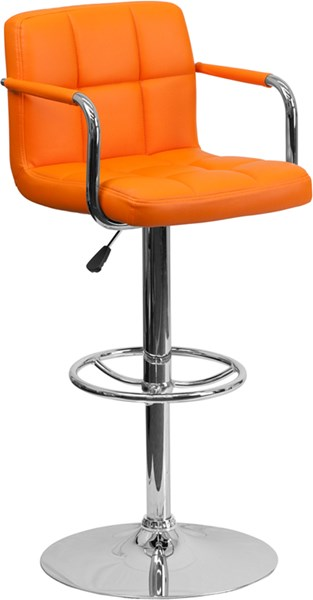 Contemporary Orange Quilted Vinyl Chrome Base Adjust Height Barstool FLF-CH-102029-ORG-GG